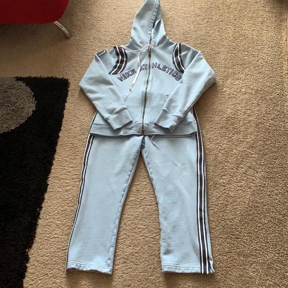 Preowned Nike women cotton blue sweat set size M